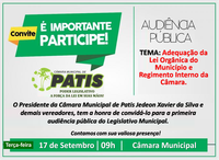 A Câmara Municipal de Patis Convida todos os Munícipes para a sua 1ª Audiência Pública
